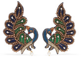 Gucci Gold-tone, Crystal And Satin Clip Earrings - Navy