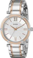 GUESS GUESS? Women's U0636L1 Classic Silver and Rose Gold Two-Tone Watch