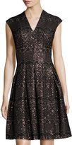 Chetta B Fit-and-Flare Sequined Dress, Black/Bronze