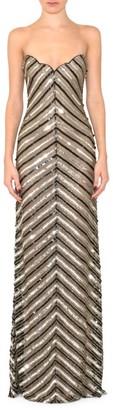 Reem Acra Strapless Beaded Column Gown
