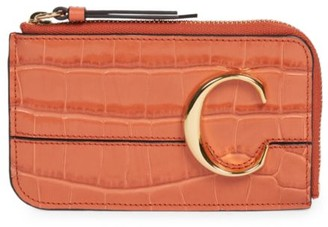 Chloé C Croc-Embossed Leather Zip Card Holder