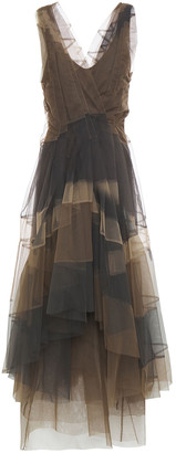 Brunello Cucinelli Asymmetric Wrap-effect Paneled Tulle Midi Dress