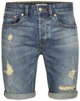 Topman Mid Wash Stretch Skinny Ripped Denim Shorts