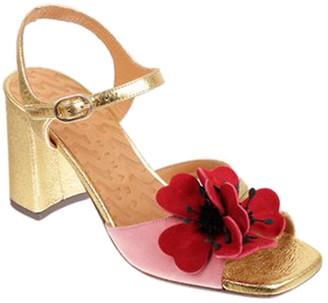 Chie Mihara Ziro Metallic Mixed Leather Flower Sandals