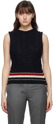 Thom Browne Online Exclusive Navy Mohair Aran Cable Classic RWB Stripe Vest