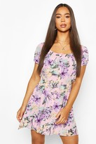 boohoo Floral Print Cheesecloth Button Skater Dress