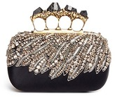 Alexander McQueen Swarovski crystal eagle wing satin pyrite stone knuckle clutch