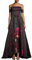 Badgley Mischka Strapless Floral Taffeta Ball Gown, Wine