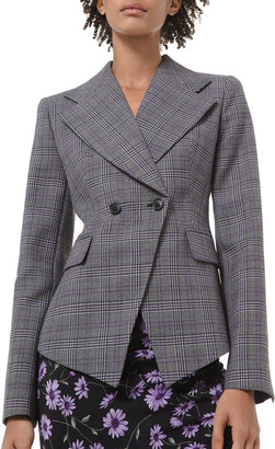 Michael Kors Glen Plaid Pressed Wool Double-Breasted Blazer
