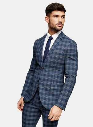 Topman Blue Check Super Skinny Single Breasted Suit Blazer With Notch Lapels