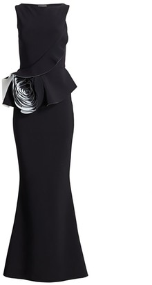 Chiara Boni Morny Flower Ruffle Gown