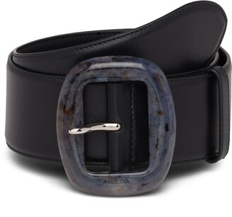 Prada Acrylic Buckle Leather Belt