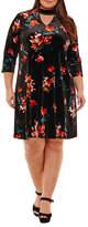 Boutique + + 3/4 Sleeve A-Line Velvet Dress-Plus