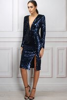 Limited Edition Blue Velvet and Sequin Midi Dress