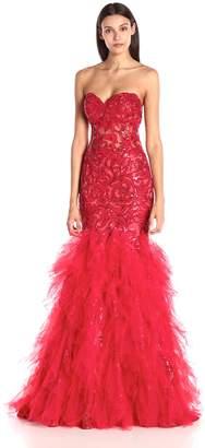 Jovani Women's Red Sweetheart Tiered Prom Dress 0