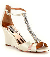 Badgley Mischka Romance Jeweled Satin Wedge Dress Sandals