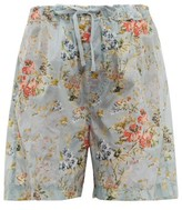 Preen by Thornton Bregazzi Isabelle Tapestry-print Ripstop Shorts - Womens - Light Blue