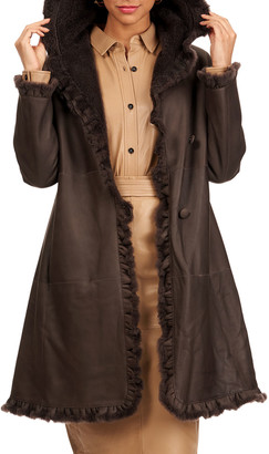 Christia Shearling Lamb Fur Stroller Coat With Ruffle Detail
