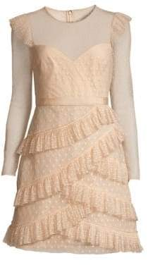 BCBGMAXAZRIA Women's Long Sleeve Pleated Tulle Mini Dress - Regal Champagne - Size 8