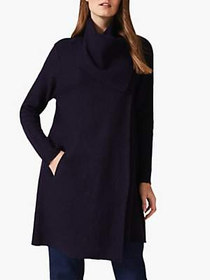 Phase Eight Bellona Funnel Neck Coatigan, Navy