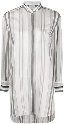 Brunello Cucinelli Asymmetric Hem Striped Silk Shirt