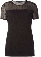 Dorothy Perkins Womens **Tall Black Dobby Mesh T-Shirt- Black