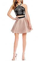 Teeze Me Y-Neck Beaded Bodice Two-Piece Dress