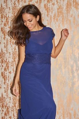 Little Mistress Bridesmaid Alessandra Navy Lace-Trim Maxi Dress