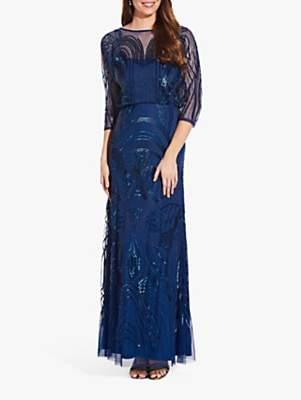 Adrianna Papell Sequin Mermaid Gown Dress, Night Flight