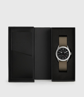 AllSaints Subtitled GMT II Stainless Steel and Grey Nylon Watch