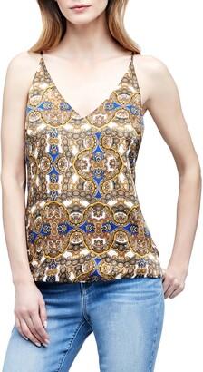L'Agence Gabriella Ornate Print Silk Camisole