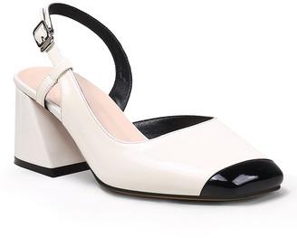 Jady Rose Women's Pumps Cream - Cream & Black Contrast-Toe Leather Slingback - Women