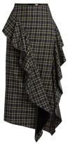 Awake Ruffled tartan cotton skirt
