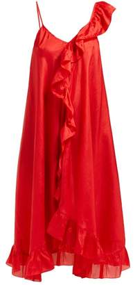 Mes Demoiselles Noemi Asymmetric Silk Dress - Womens - Red
