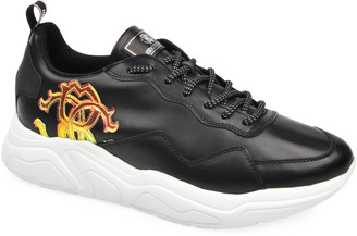 Roberto Cavalli Men's Side-Logo Leather Low-Top Sneakers