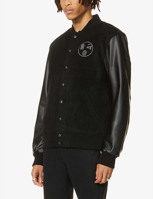 Boy London Logo-embroidered wool-blend and faux-leather varsity jacket