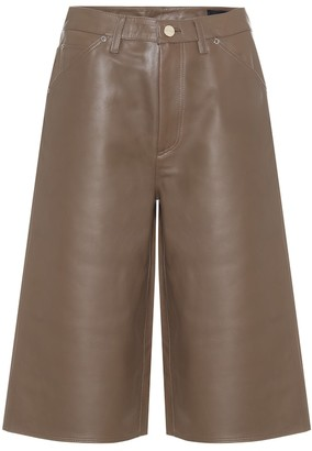 Gold Sign High-rise leather Bermuda shorts