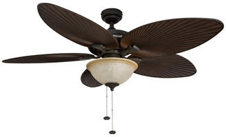 "Honeywell 52"" Palm Island Bronze Ceiling Fan with Bowl Light"