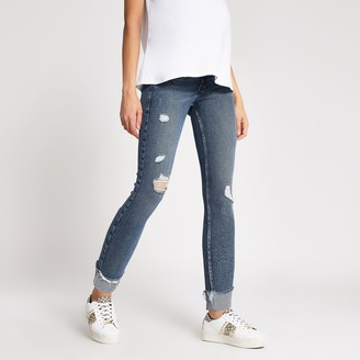 River Island Womens Blue ripped Amelie overbump maternity jeans