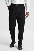 Classic Men's Long Pre-hemmed Pleat Front Traditional Fit No Iron Chino Pants-True Blue
