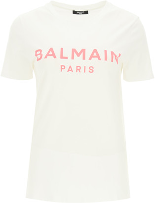 Balmain T-SHIRT WITH LOGO PRINT L White, Pink Cotton