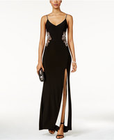 Betsy & Adam Beaded Paisley Illusion Gown