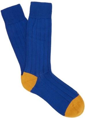 Pantherella Scott Nichol Oxford Ribbed-knit Socks - Blue
