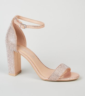New Look Diamante 2 Part Block Heel Sandals