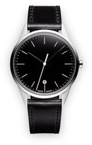 Uniform Wares C36 Women's date watch in polished steel with grey textured calf leather strap