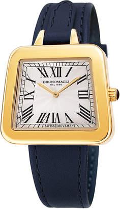 Bruno Magli 34mm Emma 1142 Trapezoid Leather Watch, Navy/Gold
