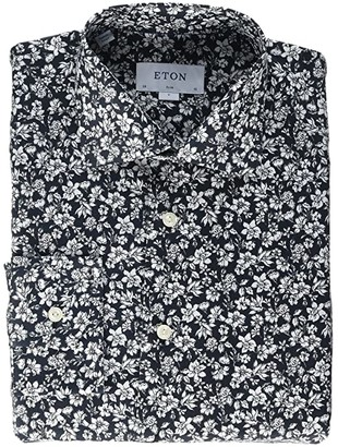 Eton Slim Fit Floral Print Button-Down (Black) Men's Clothing