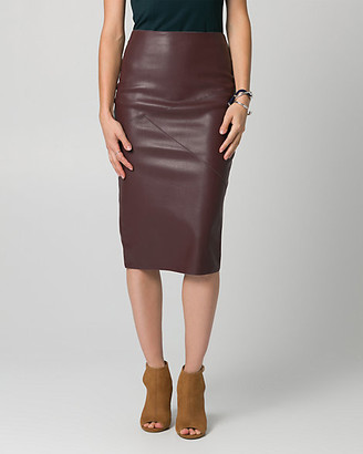 Le Château Faux Leather Midi Pencil Skirt