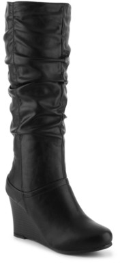 Journee Collection Hana Wide Calf Wedge Boot