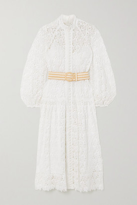 Zimmermann Belted Button-detailed Guipure Lace Midi Dress - Ivory